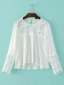 White Round Neck Hollow Lace Blouse