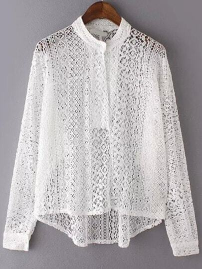 White Stand Collar Hollow Lace Blouse pictures