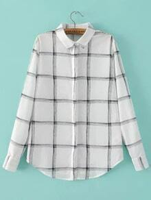 White Long Sleeve Plaid Slim Blouse