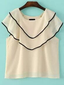 Apricot Round Neck Contrast Trims Ruffle Blouse