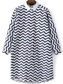Navy White Long Sleeve Zig Print Shirt Dress