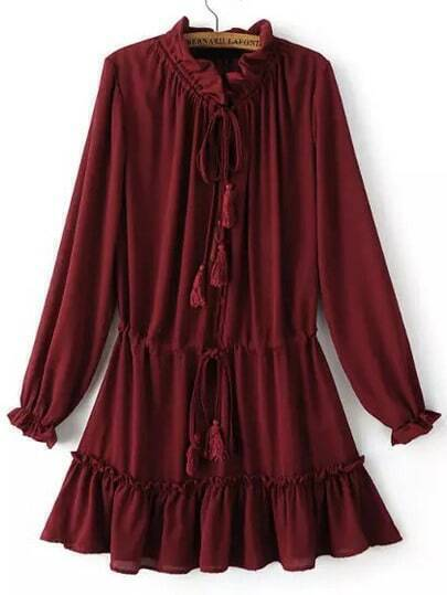 Red Frill Neck Lace Up Pleated Dress