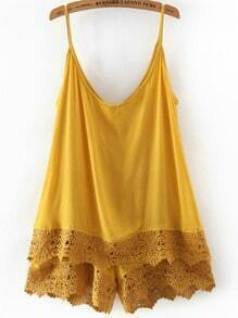 Yellow Spaghetti Strap Lace Jumpsuit