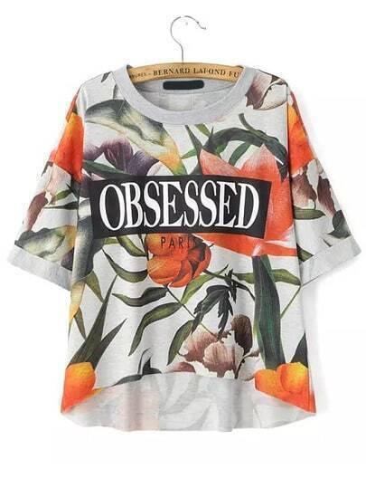 Multicolor Round Neck Floral Letters Print T-Shirt