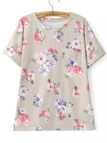 Multicolor Short Sleeve Peony Print T-Shirt