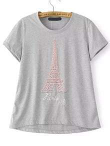 Grey Short Sleeve Eiffel Tower Pattern T-Shirt