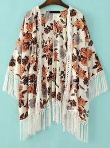 Multicolor Floral Tassel Loose Kimono