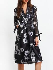 Black V Neck Tie-waist Floral Dress