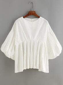 White Lantern Sleeve Ruched Loose Blouse