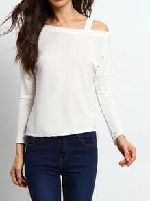 White Cold Shoulder Slim T-Shirt