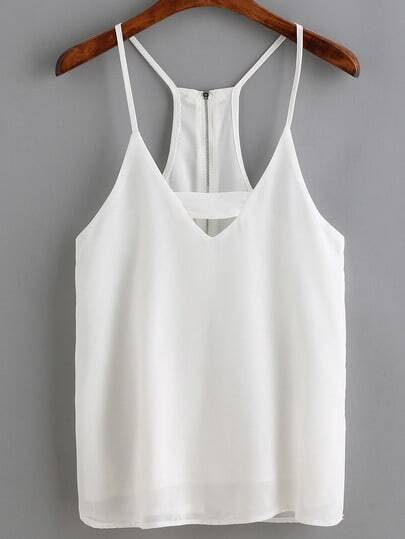 White Spaghetti Strap Zipper Back Cami Top