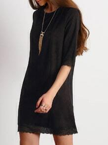Black Lace Hem Shift Dress