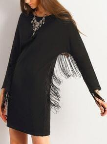 Black Crew Neck Fringe Shift Dress