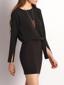 Black Split Sleeve Keyhole Back Bodycon Dress