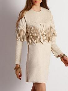 Grey Crew Neck Fringe Shift Dress