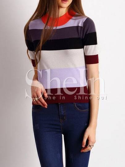 Jersey cuello redondo color combinado