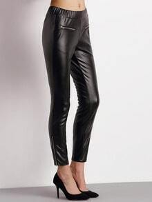 Black PU Leather Zipper Slim Pants