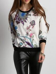 Tribal Print Color Block Trims Sweatshirt