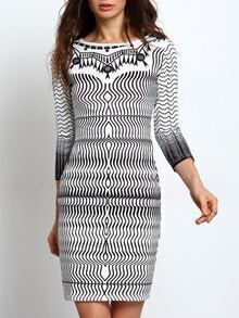 Three Quarter Sleeve Print Sheath Dress