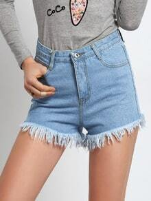 Frayed Denim Blue Shorts