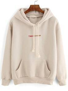 Hooded Letter Embroidered Drawstring Sweatshirt
