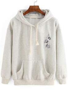 Hooded Dog Embroidered Drawstring Sweatshirt