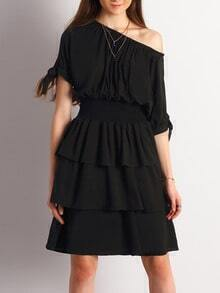 Black Wide Neck Layer Ruffle Dress