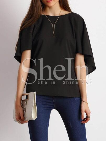 Black Butterfly Sleeves V Back Blouse