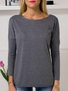 Grey Round Neck Long Sleeve T-Shirt