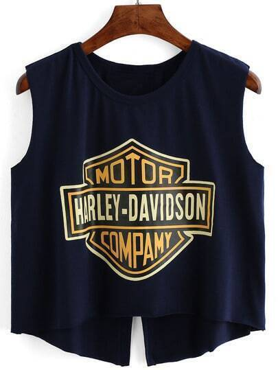 Navy Letter Print Split Tank Top