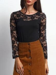 Black Lace Slim Shirt