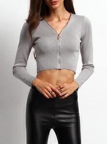 V Neck Zipper Crop Knitwear