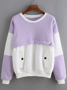 Color-block Sweatshirt With Pockets