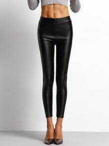 Black Skinny PU Leggings