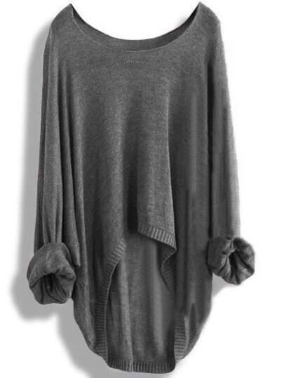 Grey Round Neck Batwing Dip Hem Knitwear