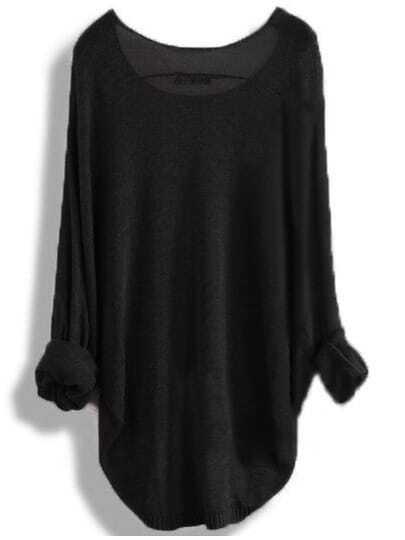 Black Round Neck Batwing Dip Hem Knitwear