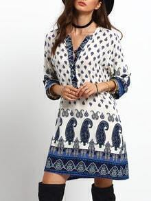 Blue Beige V Neck Tribal Print Loose Dress