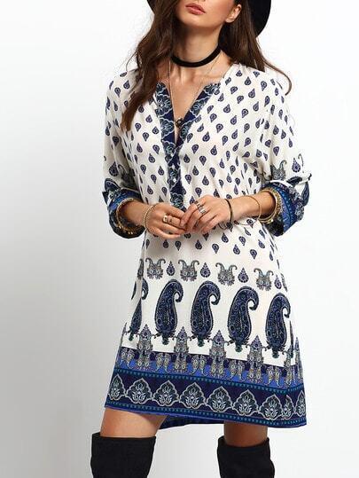 Blue Beige V Neck Tribal Print Loose Dress