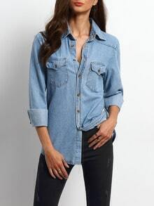 Blue Lapel Pockets Boyfriend Denim Blouse