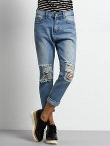 Blue Ripped Loose Denim Pant