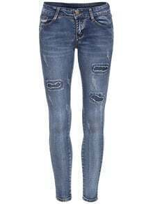Blue Skinny Ripped Denim Pant