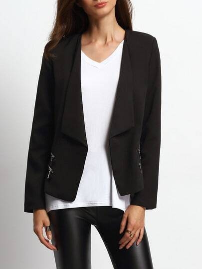 Black Lapel Zipper Fitted Blazer