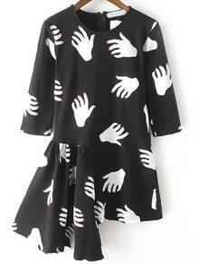 Black White Half Sleeve Hand Print Asymmetrical Dress