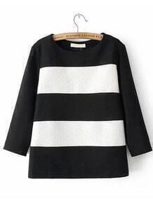 Black White Half Sleeve Striped Blouse