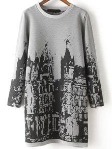 Grey Black Round Neck Building Print Dress