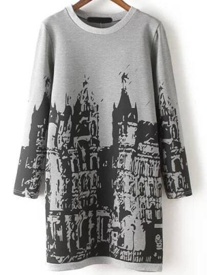 Grey Black Round Neck Building Print Dress