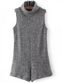 Grey High Neck Sleeveless Slim Jumpsuit