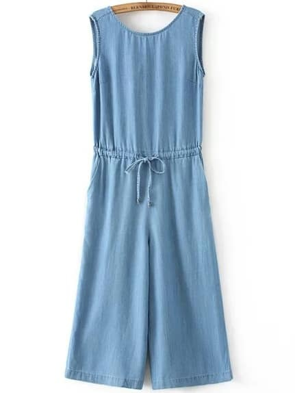 Blue Sleeveless Drawstring Waist Denim Jumpsuit
