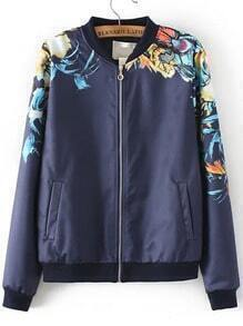 Navy Stand Collar Floral Loose Jacket