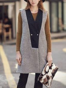Grey V Neck Double Breasted Vest Coat